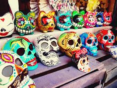 sayulita, mexico.....the turquoise skull with the red lips and rose on the head, that is the one I have in my house from that store! That's my skull! Fav store!
