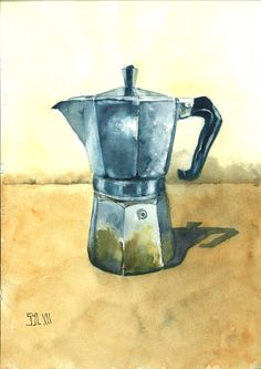 Love this painting AND my stovetop espresso maker!