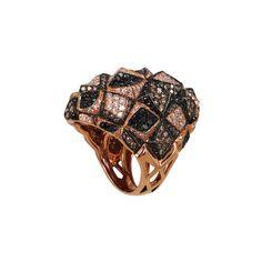 "Wing Ho for Plukka, ""Picabia II"" Shield Ring, Champagne Diamond, Diamond, Black Diamond & 18K Rose Gold"
