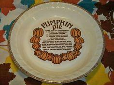Vintage Pumpkin Pie Plate Ceramic Jeanette