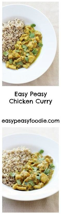 One of my absolute favourite meals from the 3 week longSirtfood Diet, this Easy Peasy Chicken Curry is quick to prepare, uses only a handful of ingredients and tastes fabulous. It's much healthier than a takeaway and, dare I say it, even tastier than many takeaway chicken curries I have had. #chicken #curry #sirtfood #sirtfooddiet #buckwheat #glutenfree #dairyfree #midweekmeals Midweek Meals, Easy Chicken Curry, Healthy Recipes, Curry Recipes, Free Recipes, Healthy Food, Healthy Meals, Keto Recipes, Healthy Eating