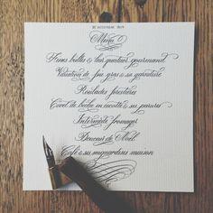 Menu calligraphié. Calligraphie anglaise. Calligraphed menu. Copperplate.