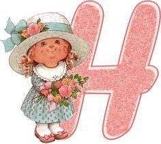 Alfabeto de nenita con flores, dibujo de Sarah Kay. | Oh my Alfabetos!