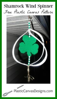 This Shamrock Wind Spinner St Patricks Day Plastic Canvas Pattern is easy to make and will look great hanging on your front porch whirling in the breeze.