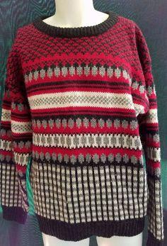 WOOLRICH Knit Pullover Crewneck Sweater Warm Winter Mens XL Red 100% Wool Ski…