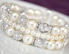 Brazalete nupcial pulsera pulsera novia Swarovski cristal