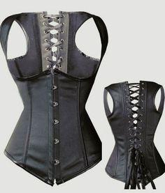 Steampunk Leather Waistcoat Steel Boned Corset - Corsets