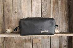 Black Handmade Men's Leather Toiletry Case Dopp Kit Shaving Bag Ooak Groomsmen…