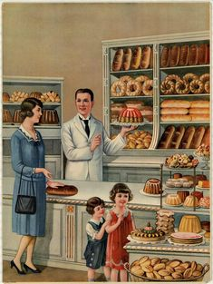 in Pictures — 1930 c. poster for bakeries. Vintage Pictures, Vintage Images, Vintage Cards, Vintage Postcards, How To Store Bread, Vintage Housewife, Pinturas Disney, Vintage Cooking, Retro Art