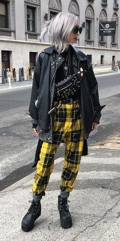 Moto jacket with black top, cardigan, yellow tartan pants & platform boots by kimiperi - #grunge #fashion #alternative