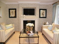 Superb Photo Of Classic Elegant Stripes Beige Living Room Lounge With Feature Wall  Wallpaper And Coffee Table Part 24