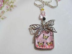 Art: Butterfly Altered Art Charm Necklace by Artist Lisa  Wiktorek