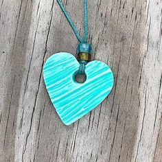 Your place to buy and sell all things handmade Polymer Clay Pendant, Handmade Polymer Clay, Turquoise, Heart Charm, Wearable Art, Heart Shapes, Glass Beads, Jewlery, Schmuck