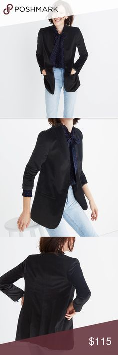 Madewell Black Velvet Blazer Still on their website for $158 A lean, streamlined take on the traditional blazer in stretchy plush velvet. A modern tuxedo jacket and a party plus-one. Length -  True to size. Cotton/elastane. Madewell Jackets & Coats Blazers