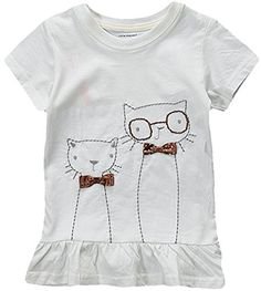 Fiream Little Girls Summer Lovely Cotton T ShirtCat3T -- To view further for this item, visit the image link.Note:It is affiliate link to Amazon.