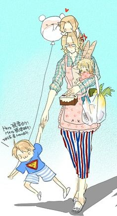 So cute!!! <3 <3 <3 France taking care of young America, Canada, and Bunny England! #Hetalia