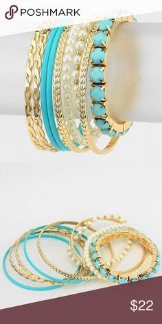 """Pearl Ombre Stack Bracelet • Style No : 258889-1 • Color : Blue, Cream, Gold • Theme : Pearl  • Size : 1 1/2"""" H, 2 3/4"""" D  • Resin Enamel / Pearl  • 9 Layers  • Pearl Ombre Stack Bracelet.                          MSRP: $ 35 Farah_lux Jewelry Bracelets"""