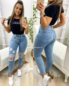 Thick Girls Outfits, Curvy Girl Outfits, Jean Outfits, Trendy Outfits, Fashion Outfits, Superenge Jeans, Skinny Jeans, Dress Indian Style, Clothing Hacks