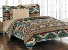 Turquoise bed on pinterest western bedding beds and western homes