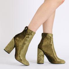 Lia Round Heel Ankle Boots in Green Velvet