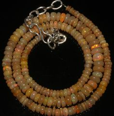 """37 Crts 1 Necklace 2 to 5 mm 14"""" Beads Natural Ethiopian Welo Fire Opal 57163"""