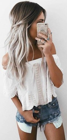 summer outfits White Off The Shoulder Top