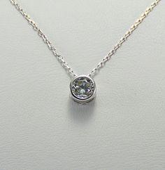 Dainty Silver Necklace Cz Diamond Solitaire by KurtArtJewelry