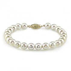Gold Japanese Akoya White Cultured Pearl Bracelet - AAA Quality ** Visit the image link more details. (This is an affiliate link and I receive a commission for the sales) Pearl Jewelry, Silver Jewelry, Pearl Bracelets, Link Bracelets, Promise Rings For Her, Cultured Pearls, Jewellery Display, Jewelry Trends, Jewellery Designs