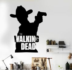 Classic Removable Walking Dead Wall Decal Cowboy Wall Decal Home Deco Wall Sticker Car Sticker Bedroom Mural  D197