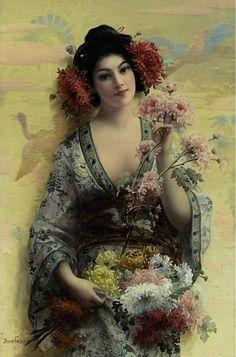 art - Joseph Faust - Fleurs de Japon, 1869