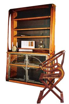 wall unit with glass cabinet and chair