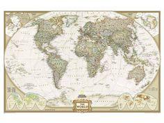 National Geographic National Geographic Wereldkaart Executive antiek (extra groot)