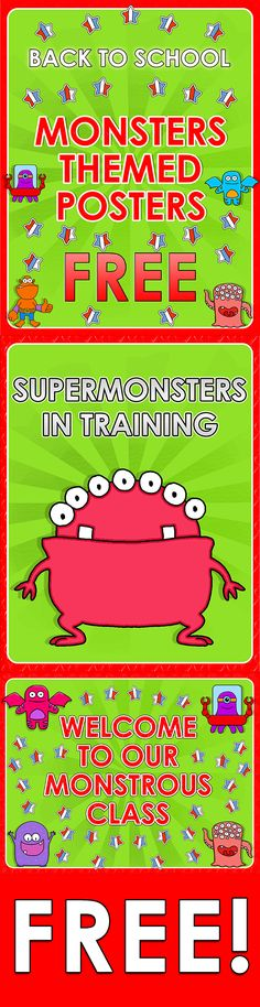 Back to School - Monsters Themed Posters - FREE Here you are 3 FREE posters for your super classroom!