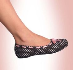 Polka Dot Flats - Ballet Flat Shoes with Interchangeable Ribbon Bow by Demonia