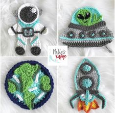 Ravelry: The Outer Space Pack pattern by Jen Mitchell - Nella's Cottage Crochet Motif, Crochet Yarn, Crochet Patterns, Crochet Appliques, Crochet Ideas, Crochet Flowers, Aliens, Space Blanket, Crochet Wreath
