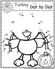 Turkey Dot to Dot and other November Preschool Worksheets - a FREE worksheet too.
