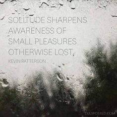 """""""Solitude sharpens awareness of small pleasures otherwise lost."""" ~ Kevin Patterson #introvert"""