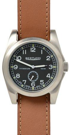 Bertucci 13301 A-3T Vintage 42 Men's Watch British Tan Band With Titanium Case