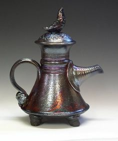 Raku teapot by Sandy Terry