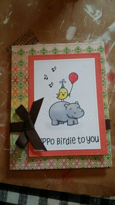 Hippo Birdie card stamps by Lawn Fawn