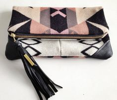 Handmade Pendleton wool Clutch laptop/MacBook Pro case with leather corners Yoshimi