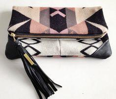 Vivi Handmade Pendleton wool Clutch laptop/MacBook Pro case with leather corners Yoshimi
