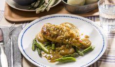 Poulet à l'estragon, asperges et pommes de terre