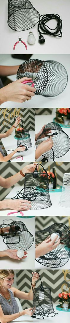 Wire wastebasket into pendant lamp.