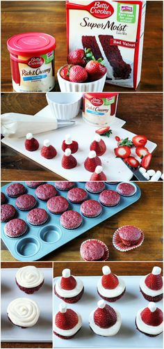 Adorable mini Red Velvet Cupcakes made from Betty Crocker cake mix and topped with strawberry santa hats perfect for holiday gatherings.