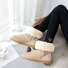 2018 Female Non-Slip Warm Natural Real Sheepskin Fur Mid-calf Boots Eskimo Snow Boots Furry Suede Winter Shoes Flats Brown Grey  Price: 76.68 & FREE Shipping  #mensfashion|#womensfashion|#tech|#homeware Snow Boots, Ugg Boots, Brown Flats, Winter Shoes, Mid Calf Boots, Brown And Grey, Uggs, Tech, Fur