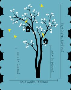 Stickers muraux d'arbre nichoir et vol oiseaux par StudioQuee