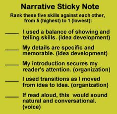 "These serve as ""mini scripts"" that give my students academic language to use during Writer's Workshop, especially during response and conferencing time. This narrative sticky focuses on 3 different writing traits as they rank their use of skills; partners can agree or disagree with a writer's self-rankings, and the conversations lead to great revision plans. Check out other trait-inspired materials online: http://www.corbettharrison.com/critical_trait_thinking.htm#2"