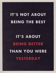 Be better than you were yesterday! Start up motivation.