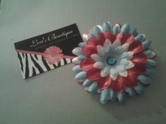 3in Red, White & Blue Gerber Daisy Head Band - You choose Size and band. $7.00, via Etsy.